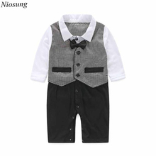 Niosung Handsome Baby Boy Formal Party Long Sleeve Christening Wedding Tuxedo Waistcoat Bow Tie Kids Child Clothing Suit 0-24M v