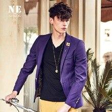 ЭРЛ ДЖОЭЛ высокое качество 2015 весна осень прохладный мужчины тонкий одной кнопки три четверти рукав случайные фиолетовый костюмы пиджаки ретро 2XL