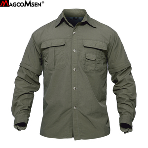 Image 1 - MAGCOMSEN Summer Mens Shirts Quick Dry Sleeve Detachable Shirts Military Army Tactical Shirts Breathable Cargo Work Hiking Tops