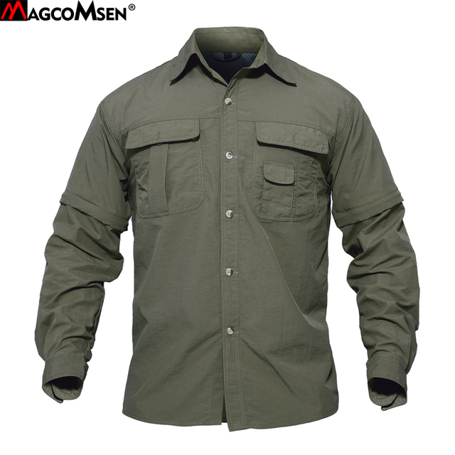 MAGCOMSEN Summer Mens Shirts Quick Dry Sleeve Detachable Shirts Military Army Tactical Shirts Breathable Cargo Work Hiking Tops