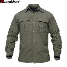 Мужская летняя рубашка MAGCOMSEN, быстросохнущие Съемные рубашки с рукавами, военные армейские тактические рубашки, дышащие рабочие походные топы с карманами