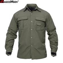 Magcomsen camisas dos homens do verão de secagem rápida manga destacável camisas militares do exército tático respirável carga trabalho caminhadas topos