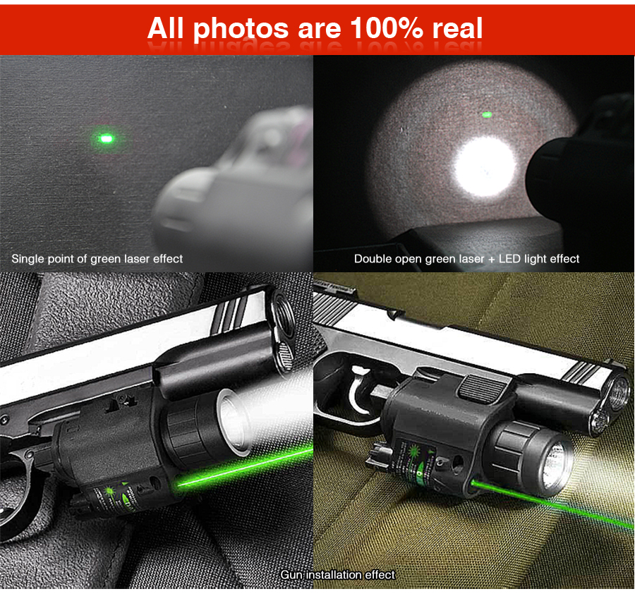 Green Laser Sight and LED for Picatinny Rail Flashlight Style Promotion hunting combo metal green dot laser sight led flashlight 200lm 3w with 20mm rail weaver picatinny for glock 17