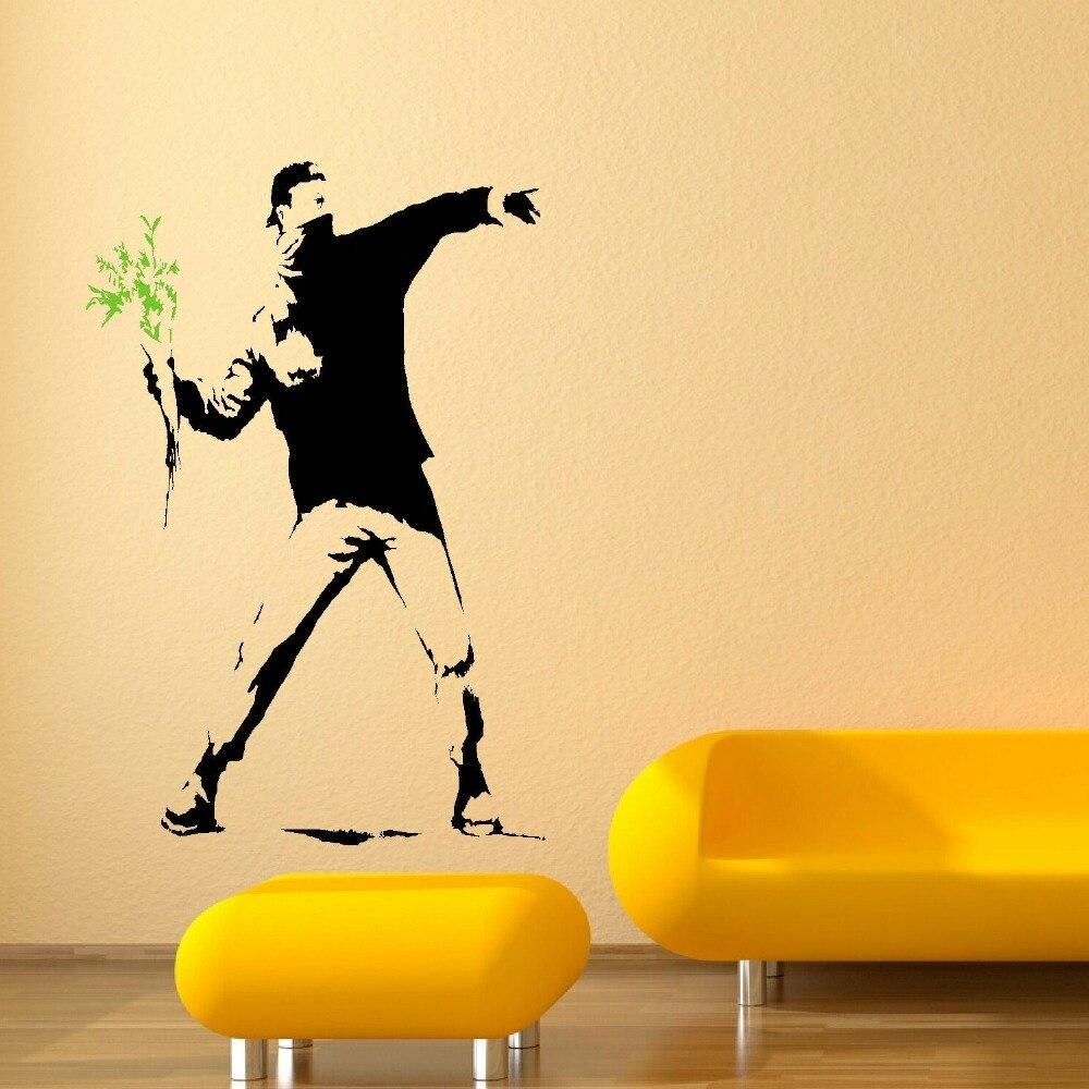 BANKSY MAN RIOT FLOWER WALL MURAL ART STICKER TRANSFER POSTER DECAL ...
