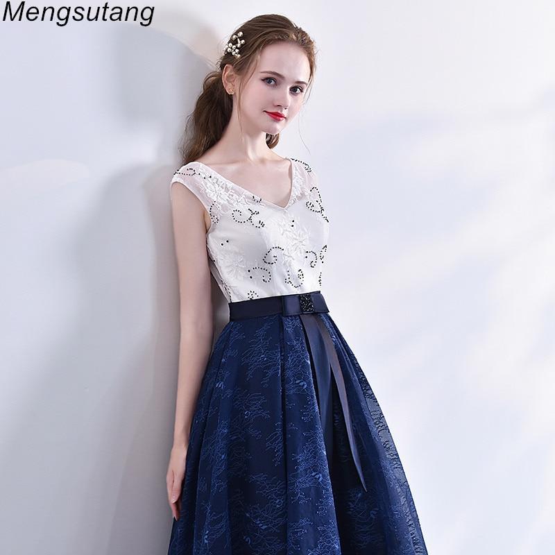 Robe de soiree Lace V Neck Tea Length A Line Beaded Evening Dresses ...