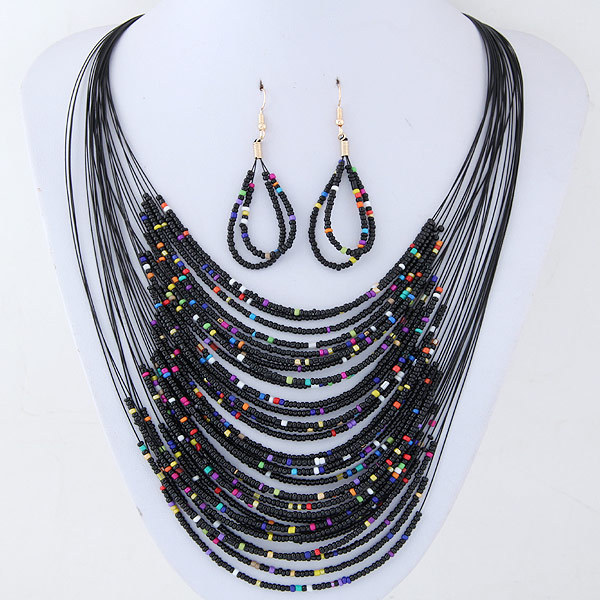 European And American Fashion Baitao Bohemian Famous Mizhu Multi-layer Necklace Earrings Suit Beach Wind Summer Color
