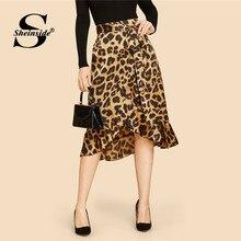 a9252c8812 Sheinside con volante asimétrico dobladillo leopardo Vintage falda de cintura  alta de mujeres abrigo chaqueta otoño faldas 2018 .