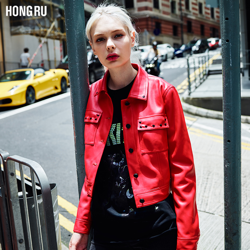 2017 Autumn Rivets   Leather   Jacket Female New Korean Short Washed PU Street Bikers Coat Single Breasted Buttons AS1046