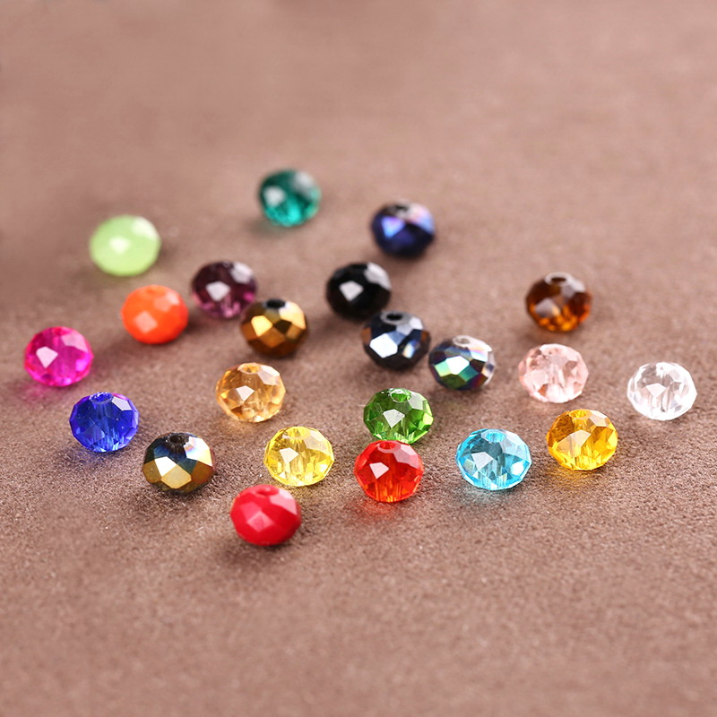 100pcs Assorted Colors 6mm Faced Glass Beads Crystal