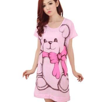 ab8abfaff Verano de las mujeres pijamas de manga corta vestido lindo Oso de dibujos  animados impreso ropa de dormir Sleepshirts Homewear plus tamaños M-3XL
