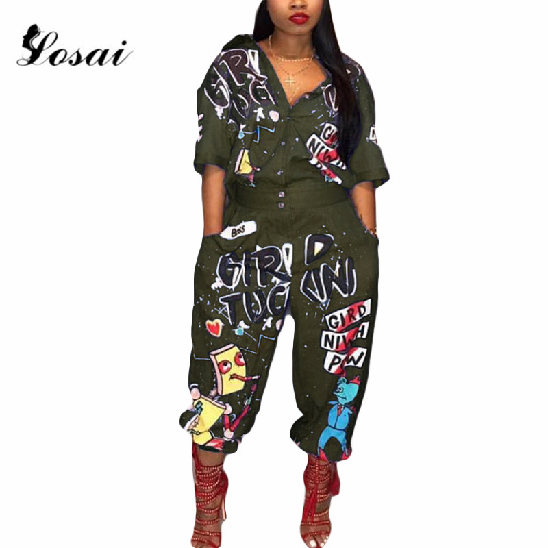 New Casual Fashion Women   Jumpsuit   2019 Temperament Design Long   Jumpsuits   Half Sleeve Loose Fancy High Street Romper Bodysuit