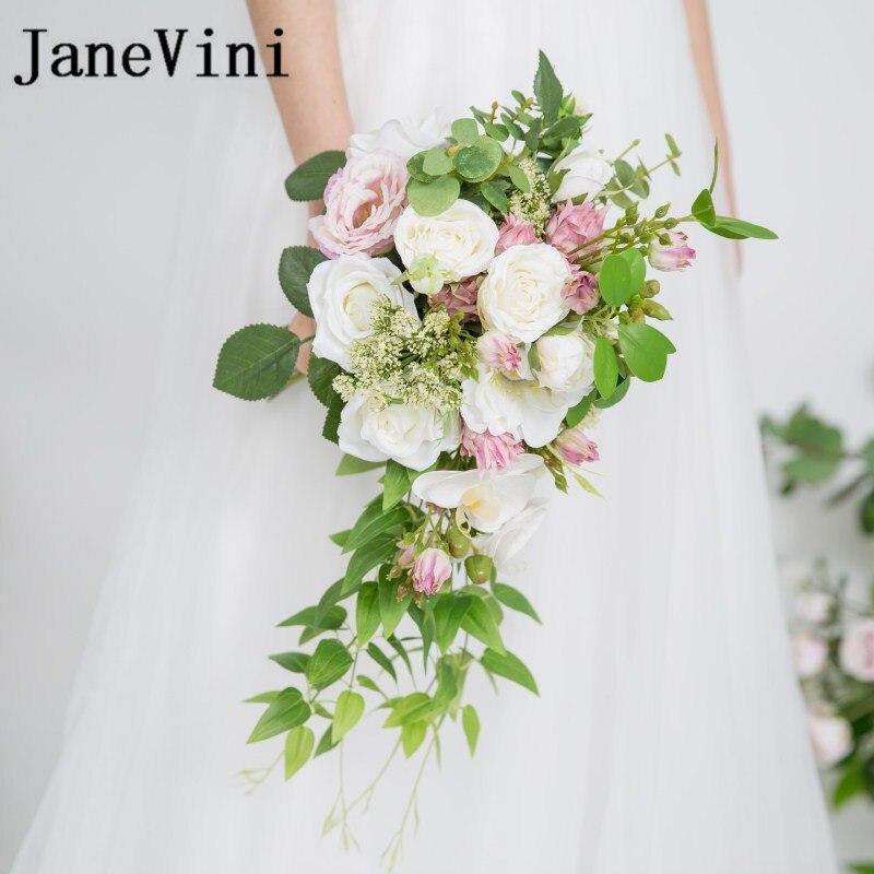 JaneVini Waterval Broche Bruidsboeket Kunstmatige groene bladeren - Bruiloft accessoires