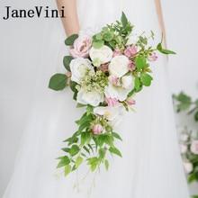 JaneVini Vandfald Broche Bryllup Bouquet Kunstige Grønne Blad Bryllup Blomster Brudebuketter Bouquet De Mariage Rose 2018