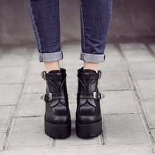 black heels ladies platform shoes woman spring autumn punk boots chunky high heels pumps women ankle boots punk shoes X356