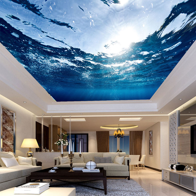 Photo Wallpaper Custom Large Ceiling Mural HD Blue Sea Water Nature Wallpaper Living Room Hotel Ceiling Mural Papel De Parede 3D