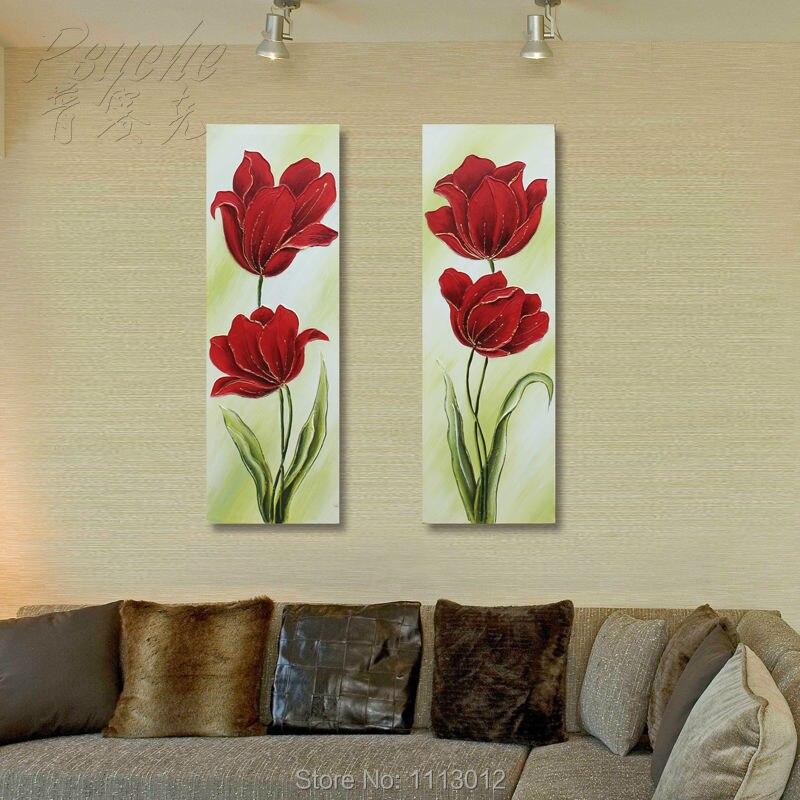 100% Fait Main Moderne Rouge Rose Peinture À L'huile Fleur De Lys Fleur image Pourpre Accueil Décoration Murale Art 2 Pièce Mis La Maison décoration