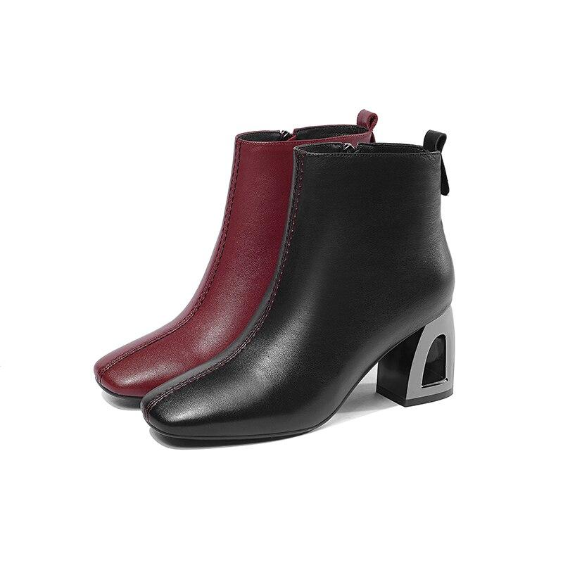 nuovo Wetkiss rosso pelle stivaletti tacchi vino punta alti quadrata vacchetta scarpe femminile vino donne insolito velluto nero donna 2018 inverno peluche Zip stivale rosso moda pantaloncini neri rw4OTrq