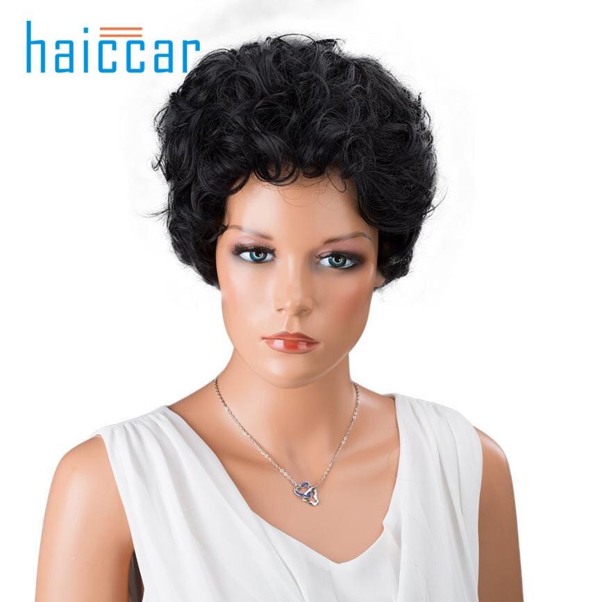 moda pelo sinttico pelucas negro corto frente peinado rizado para las mujeres negras ju