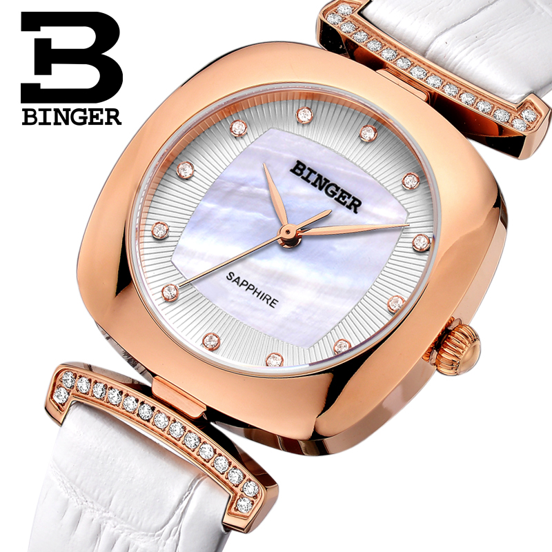 Switzerland Binger Women's watches fashion luxury watch leather strap quartz gold sapphire crystal diamond Wristwatches B1157-2 2017 new binger fashion casual cow leather watches waterproof wristwatches hours for man sapphire orange quartz watch