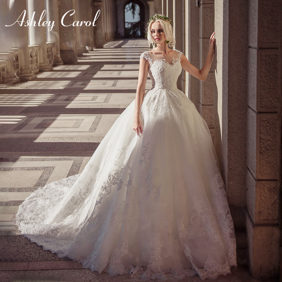 Ashley Carol Illusion Scoop Princess Tulle Wedding Dress 2019 Sexy Off The Shoulder Bride Dress Appliques Vintage Wedding Gowns