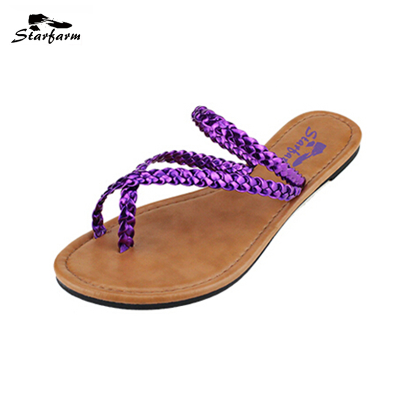 STARFARM Summer Women Huarache Sandals Casual TPR Shoes Women Flat Strap Flip Flops Slippers ladies shoes cheaper Slides crocs huarache flip flop