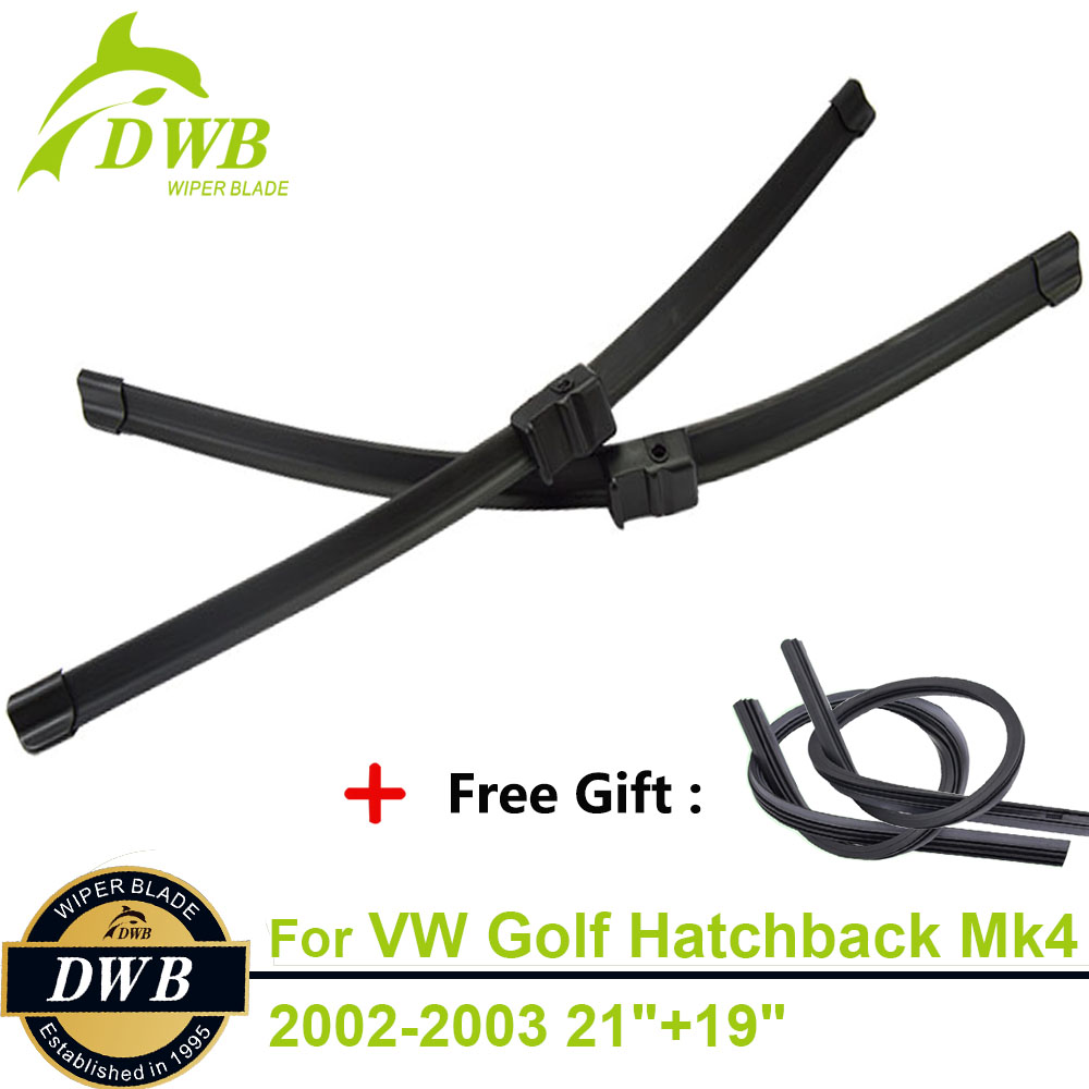2PCS ECO Wiper Blades for Volkswagen Golf Hatchback Mk4 2002-2003 21+19, Free Gift 2Pcs Rubbers, Car Window Wipers