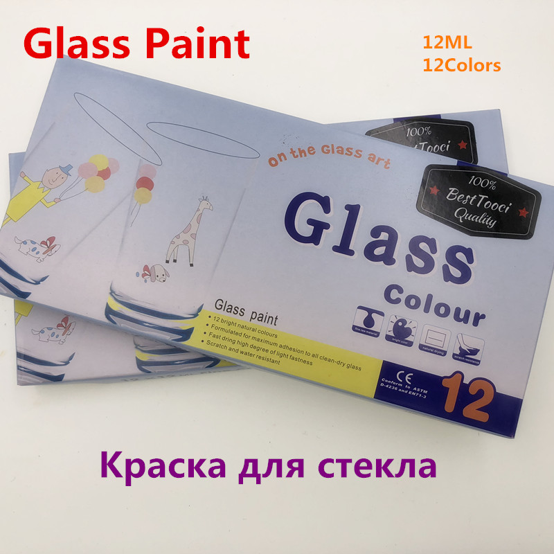 Stain Glass Paint Set 12 Colors 12ML Color Set Glass Paint Color Acrylic Paint Hand Painted Pigments