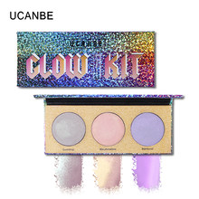 UCANBE Brand Chameleon Shimmer Highlighter Palette Face Contour Makeup Laser Illuminator Glow Kit Aurora Highlight Cosmetics(China)