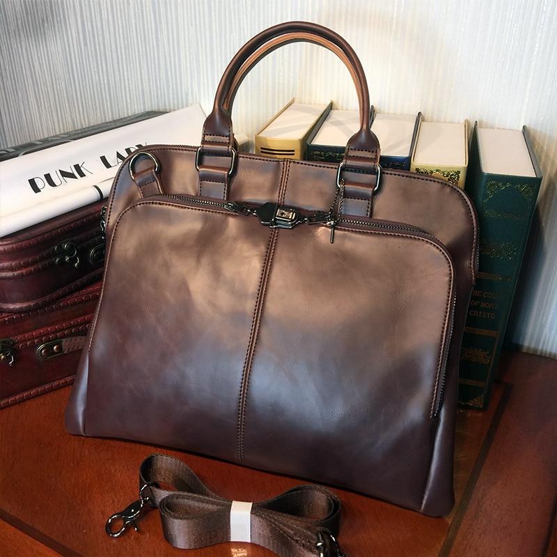 ETONWEAG Brands Cow Leather Designer Handbags High Quality Brown Vintage Men Messenger Bags Zipper Lawyer Business Laptop Bag