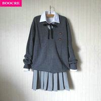BOOCRE Fashion Long sleeve Sweater Suit Preppy Style JK School Uniform Autumn Sailor Uniform V neck Sweater+Shirt+Tie+Skirt