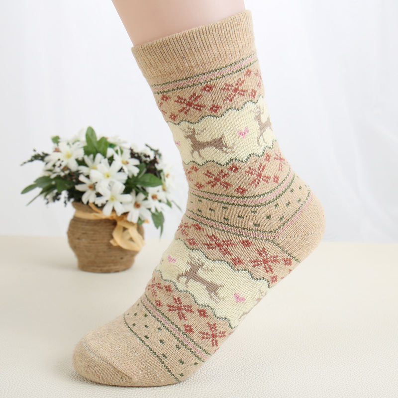 Warm Winter Rabit Wool Socks Women Girl Fawn Fruit Print Media Thick Sock Breathable Compression Harajuku Calcetines Mujer 5/lot