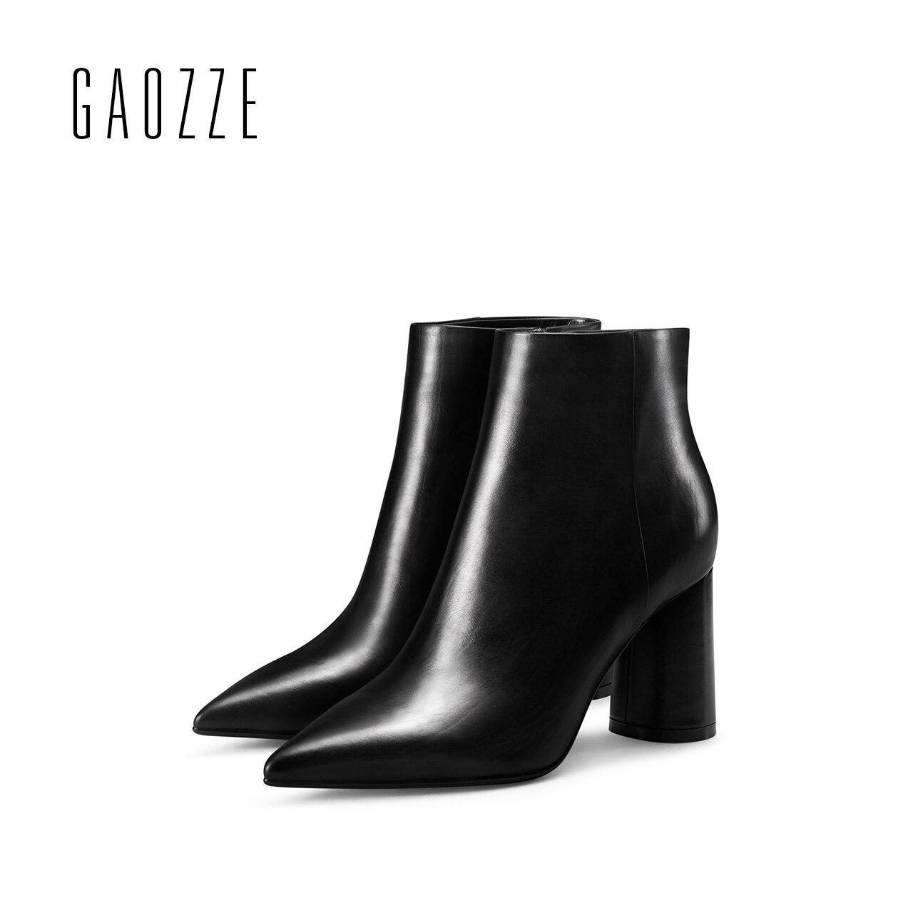 GAOZZE Preto Ankle Boots de Couro Para As Mulheres 2017 Outono Nova Moda Dedo Apontado Botas de Salto Grosso Alto-Salto Alto Tornozelo botas Mulheres