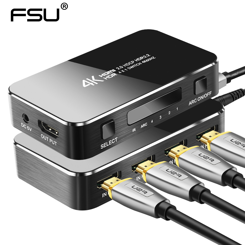 FSU HDMI Switch 2.0 4K HDMI Switcher 4 In 1 Out HDMI Splitter IR Control For Nintend PS3 PS4 HDTV mini 4 port 4x1 hdmi switch ultra hd 4k 60hz hdmi 2 0 hdcp 2 2 4 in 1 out switcher box with ir control for ps4 apple tv hdtv