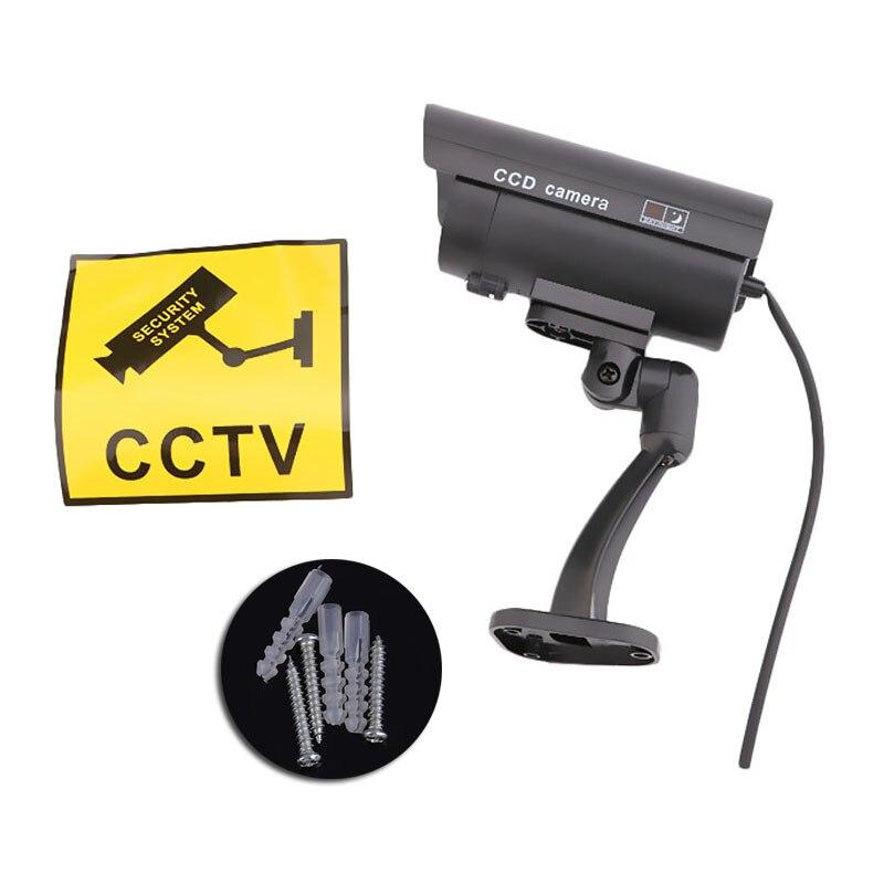 Segurança interna ao ar livre segurança segurança falsa manequim cctv câmera noite cam piscando led vermelho lâmpada luz camaras de seguridad