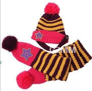 Новинка; Милая зимняя Детская шерстяная шапка с пентаграммой; Милая зимняя шапка с ушами и улыбающимся лицом; теплая шапка с рукавами для малышей; шарф; головной убор; комплект - Цвет: D
