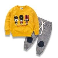 Conjuntos de Roupas Meninas 2018 Primavera do bebê Crianças Camisola Ternos de Algodão 2 Peça Definir Meninos Streetwear Crianças Outono Roupa Das Crianças