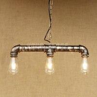 Aussetzung eisen wasserleitung vintage style 3 stücke lichtquellen pendelleuchte