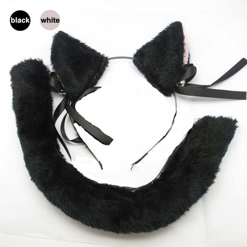 Cat Fox Ears and Tail Costume Black White Cat Ears Headband Head Band Hair Hoop Dress Cos Accessory Cosplay Plush Toy Party
