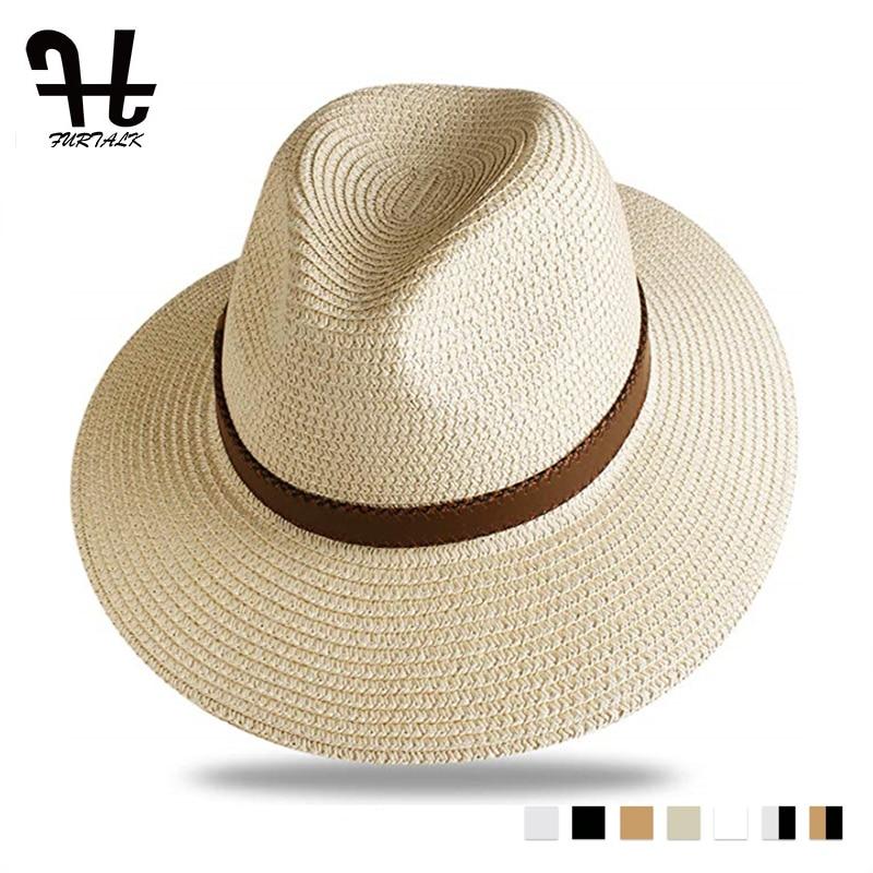 FURTALK Summer Straw Hat For Men Women Sun Beach Hat Men Jazz Panama Hats Fedora Wide Brim Sun Protection Cap With Leather Belt