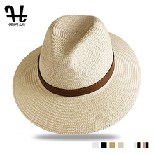 FURTALK Summer Straw Hat for Men Women Sun Beach Jazz Panama Hats Fedora Wide Brim Protection Cap with Leather Belt
