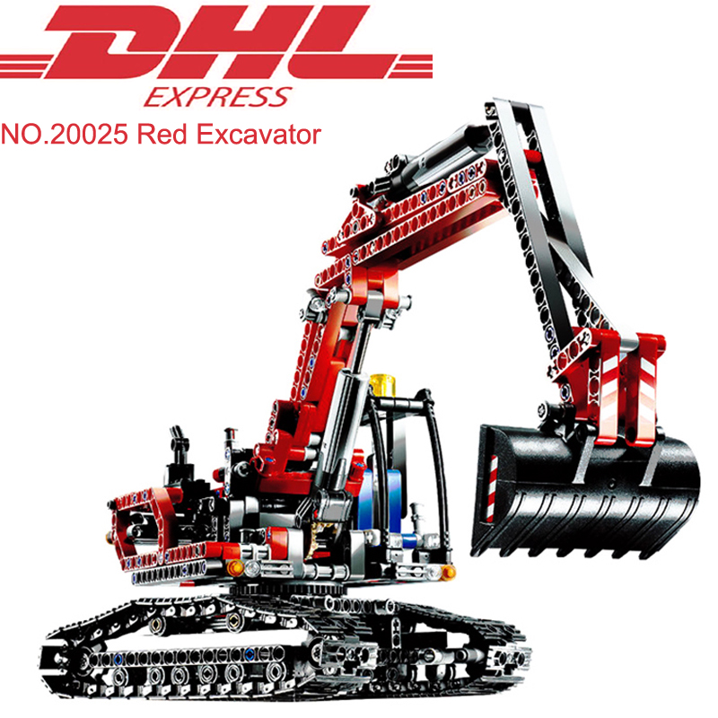 Lepin 20025 760Pcs Technic Red Excavator Set Building Blocks Bricks Educational Toy For Children Model Kits Gift Compatible 8294 lepin 20025 760pcs technic the red engineering excavator set building blocks bricks model toys christmas gifts compatible 8294