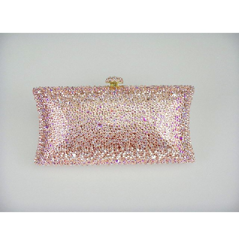 ФОТО L7701Z WhiteAB/Peach Crystal in Mixed effect pillow shape Bridal Party Night Metal Evening purse clutch bag case box handbag