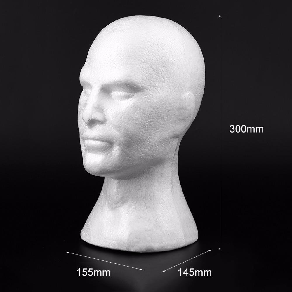Creative Male Smooth Mannequin Head Model Wig Hat Glasses Caps Display Stand Bubble Foam Head With Ears Drop shipping in Mannequins from Home Garden