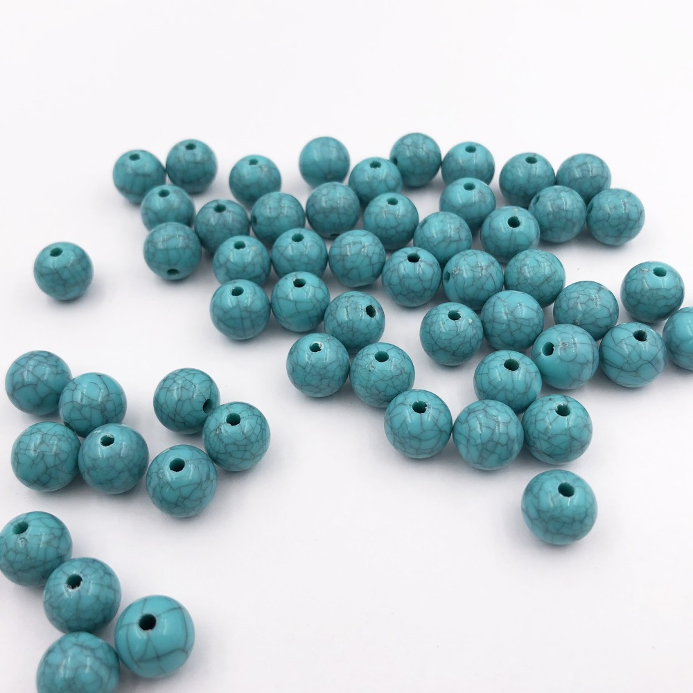10mm 100pcs Sky Blue Howlite Dyed Stone Beads Round Green Color Space Beads For Necklace Bracelet Jewelry Making Wholesale in Beads from Jewelry Accessories