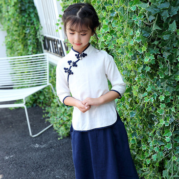 Baby Girls Clothing National Skirt Chinese Style Shirt + Long Skirt 2018 New Girls Hanfu Suit Trend College Wind Skirt Suit girl shoes in sri lanka
