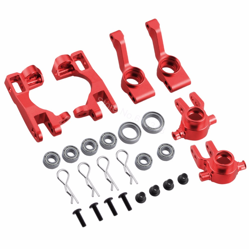 цена на 1/10 Traxxas Slash 4x4 Aluminum Left & Right Steering Blocks Parts # 6837X C-Hubs 6832X Axle Carriers Caster Blocks Upgrade Kit
