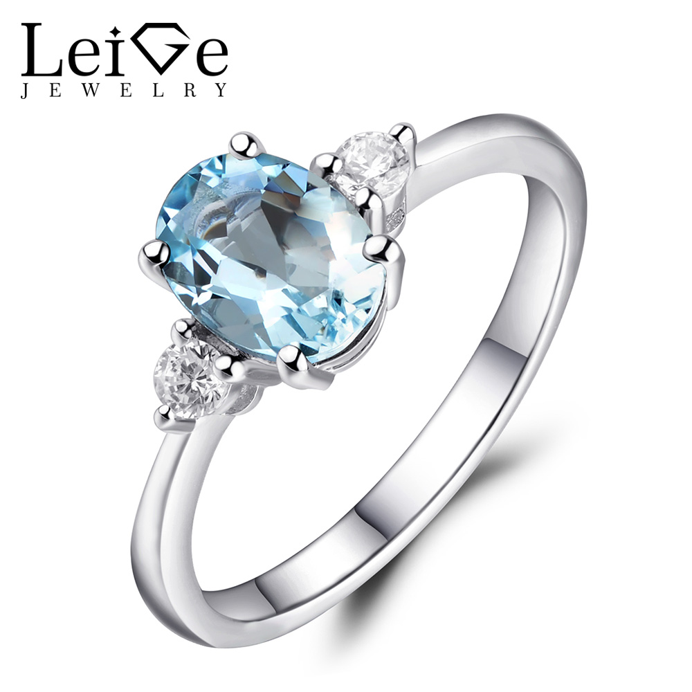 Leige Jewelry March Birthstone Oval Cut Gemstone Rings Natural Aquamarine  Engagement Ring Sterling Silver 925 For