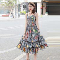 XF 2018 Yüksek Kalite Moda Tasarımcısı Pist Yaz Elbise Bohemian Bayanlar Sling Kart Çiçek Adım Ekose Baskı Elbise