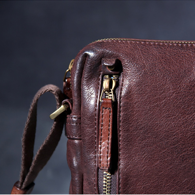 AETOO Casual men's head cowhide small bag retro leather shoulder crossbody bag