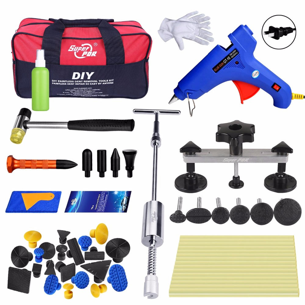 цена на PDR Tools Set Paintless Dent Repair PDR dent puller Slide Hammer glue gun tools Car Dent Removal Hand Tool Set